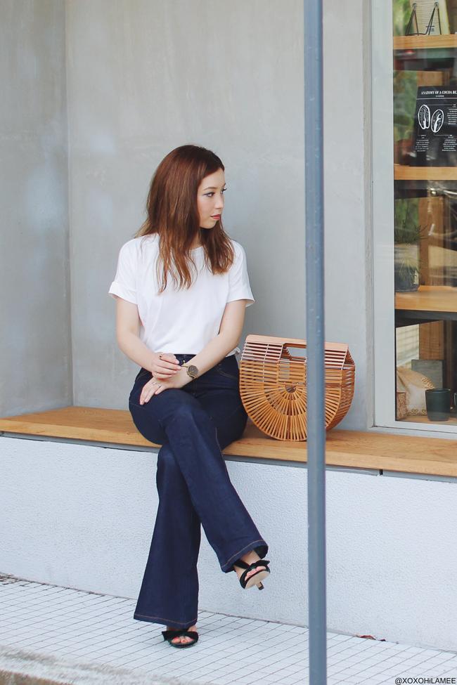 日本人ファッションブロガー,Mizuho K,20170709今日のコーデ,SheIn-クルーネックホワイトTシャツ,Newchic-フレアジーンズ,ReEDIT: ハーフサークルかごバッグ,ZARA-グリーンベロアリボンサンダル,NIXON-腕時計, シンプルコーデ