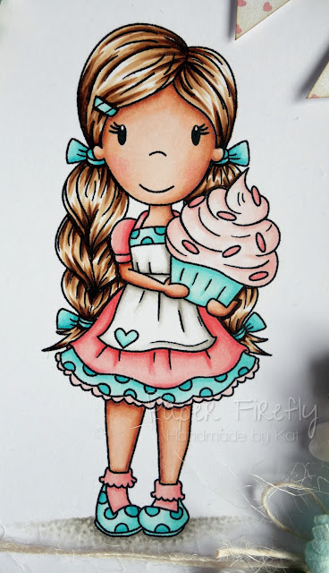 Pastel card featuring Cupcake Avery by The Paper Nest Dolls