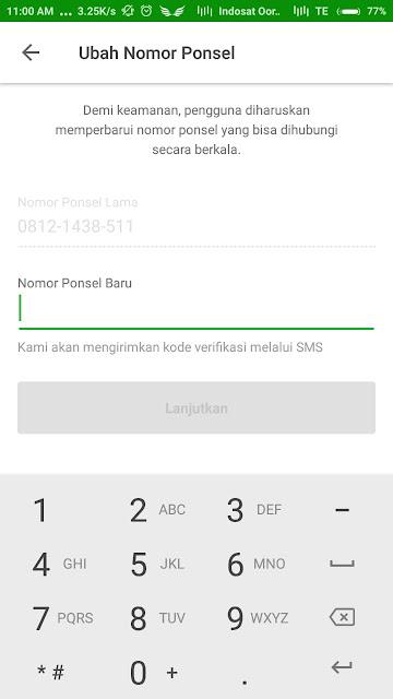 Masukkan Nomor Handphone baru (Tokopedia)