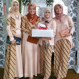 gamis batik kombinasi atasan polos