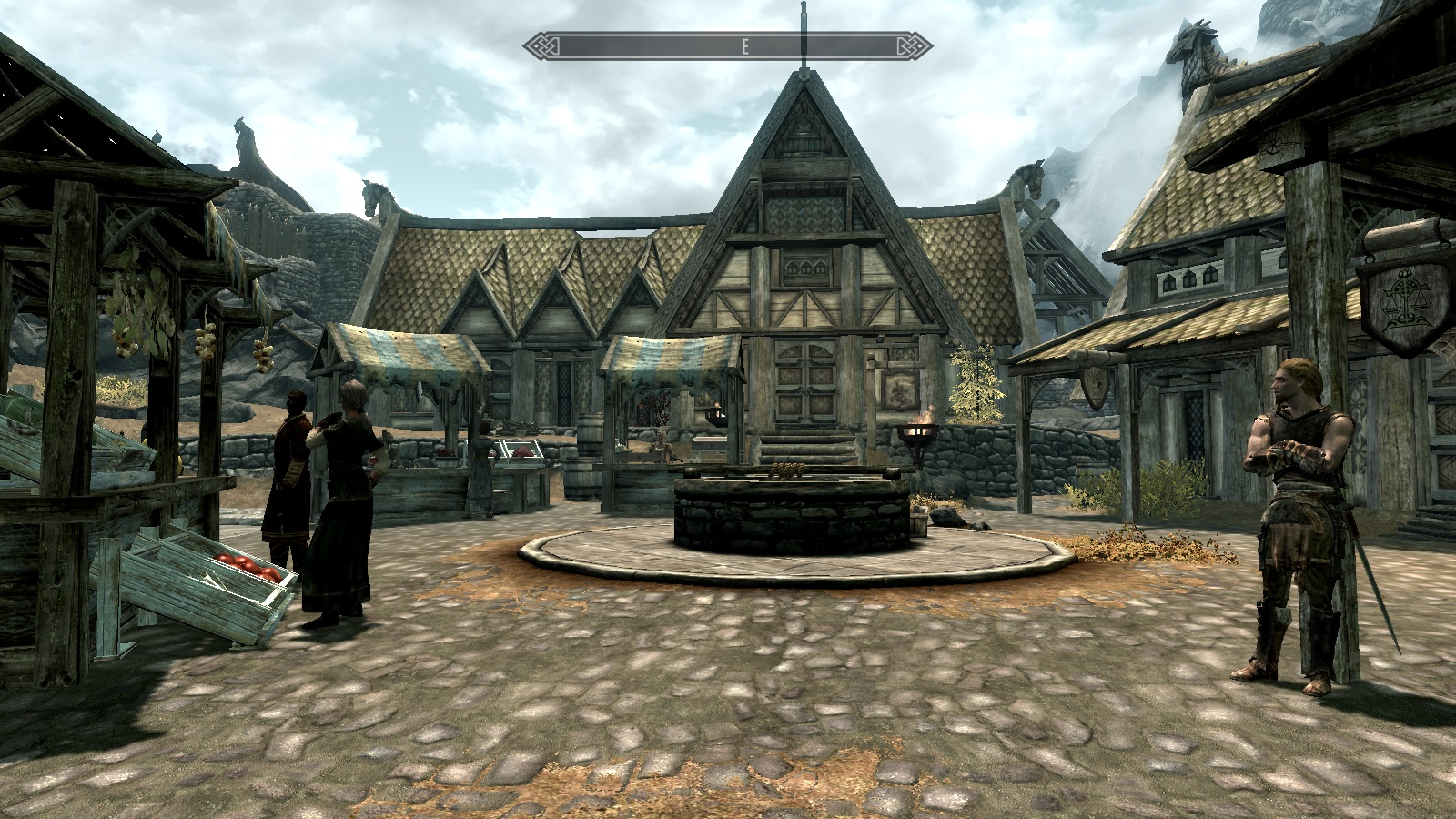 Imagen de la plaza de Carrera Blanca (Whiterun) de Skyrim