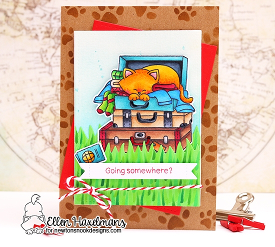 Cat in Suitcase Card by Ellen Haxelmans | Stowaway Newton Stamp Set and Pawprint Stencil by Newton's Nook Designs #newtonsnook