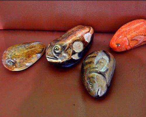 Tinuku Purba Art Stone studio use river blondos stone as canvas into magic rock painting art