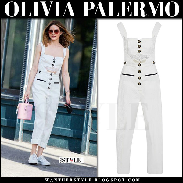 Olivia Palermo in white cutout button jumpsuit self portrait and white sneakers kenneth cole kam what she wore june 2017 walking her dog