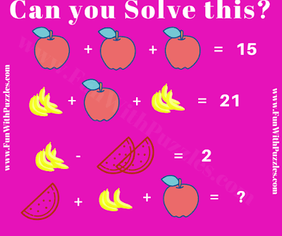 It is Maths Puzzle in which your challenge is to solve the given equations and find the value fruits.
