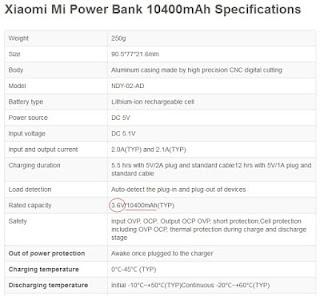 "Contoh spesifikasi power bank merk ""Xiaomi"""