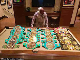 Floyd Mayweather Boxing championship belts
