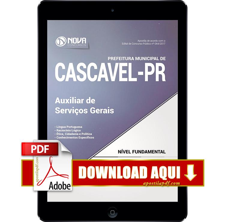Apostila Prefeitura de Cascavel 2017 PDF Download Auxiliar de Serviços Gerais