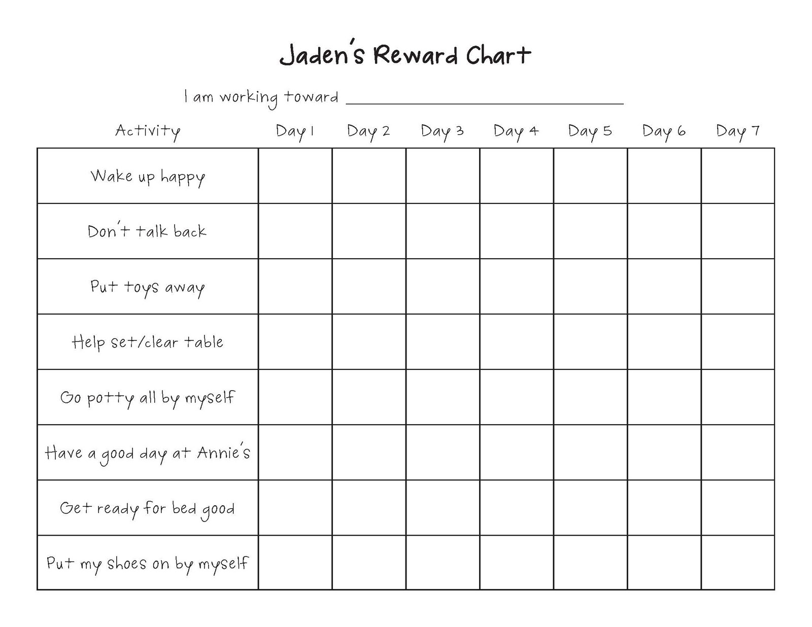 Living My Life On Purpose Reward Chart Update