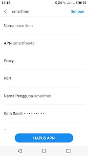 Setting 4G APN Smartfren