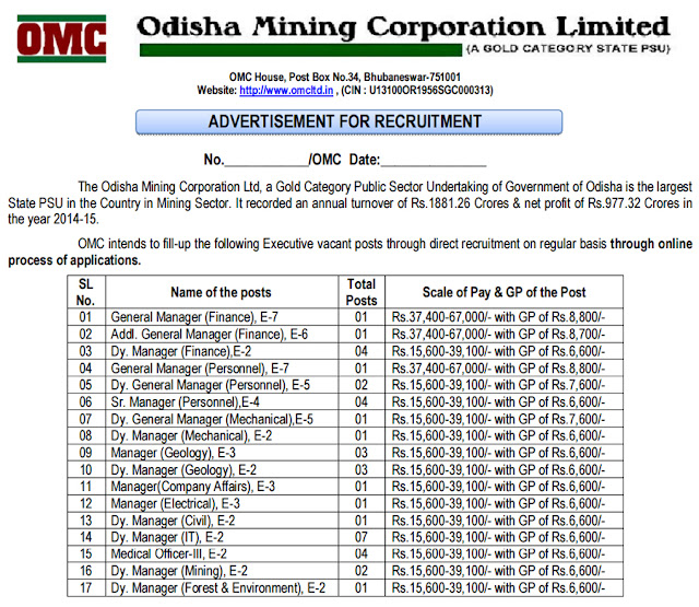 OMC Ltd Recruitment