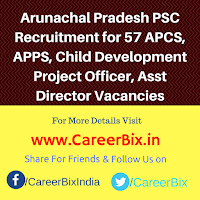 Arunachal Pradesh PSC Recruitment for 57 APCS, APPS, Child Development Project Officer, Asst Director Vacancies