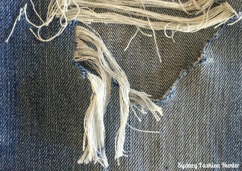 DIY Destroyed Jeans - Diagonal Hole