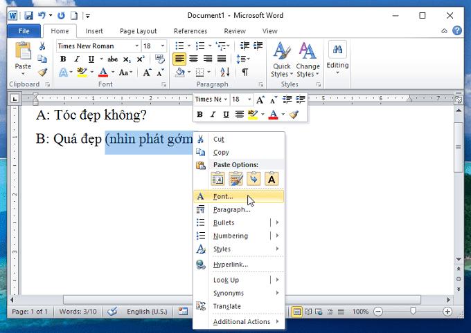 chọn font - Ẩn và bỏ ẩn văn bản trong Word