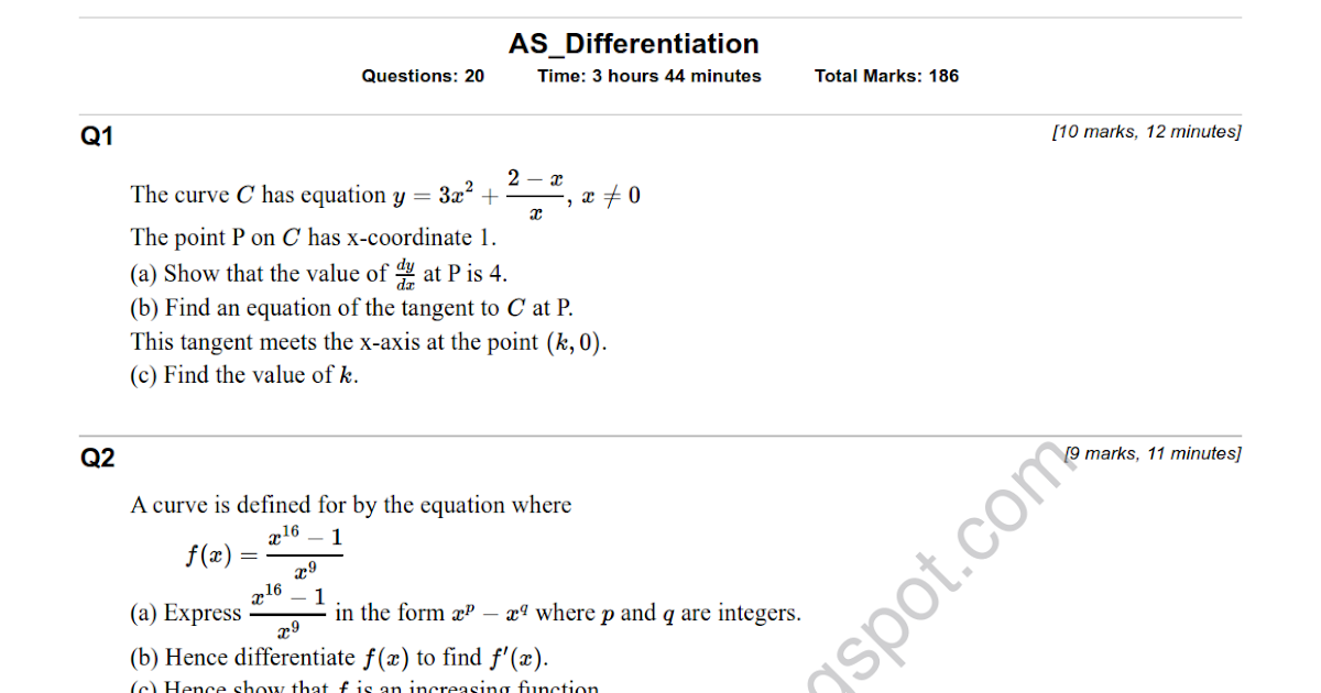 Download Amp Study As Maths Differentiation Revision Test
