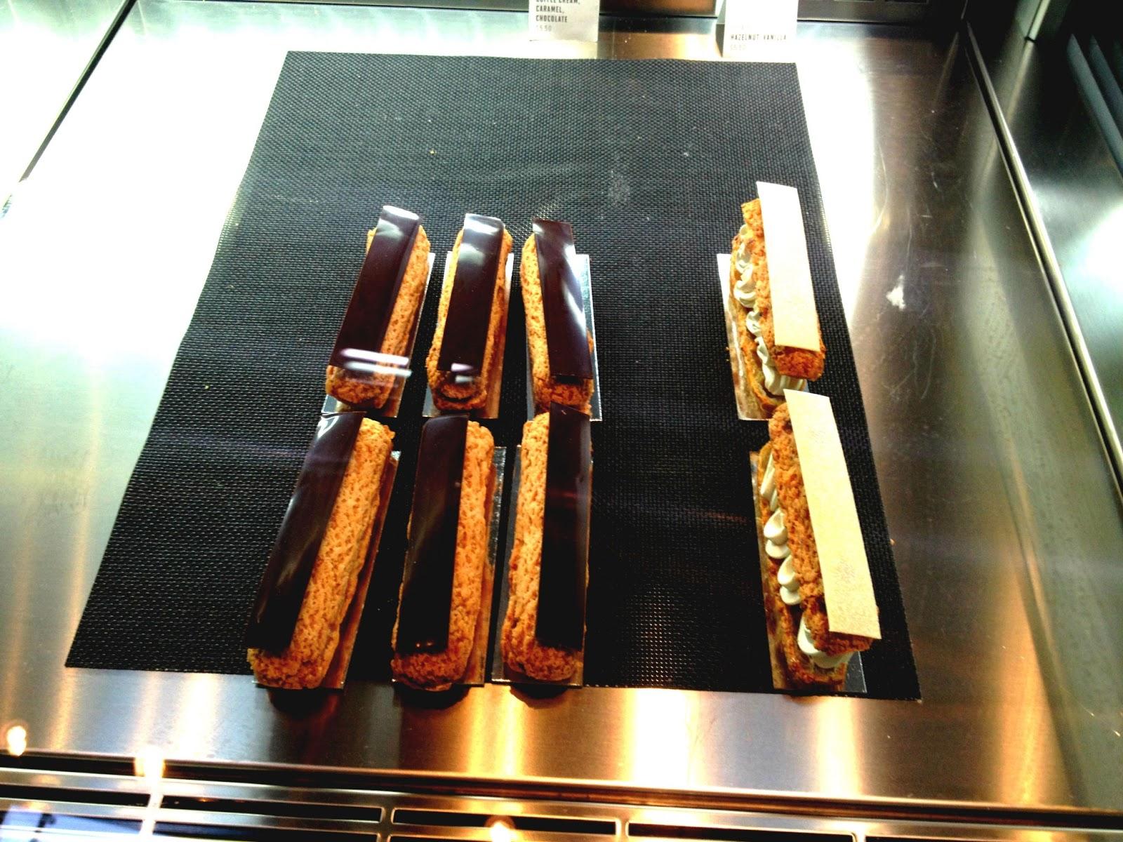 Eclaires - Caramel + Chocolate (L) and Hazlenut + Vanilla (R)