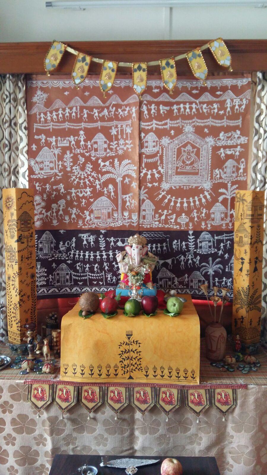 Ganpati Decoration With Warli Theme