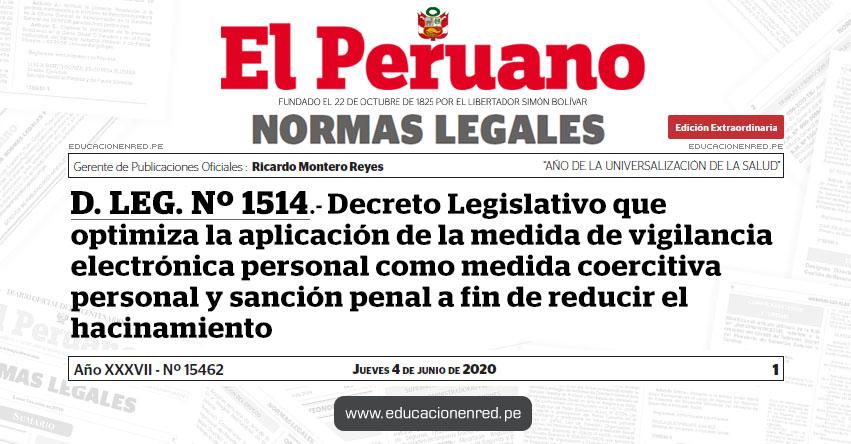 D. LEG. Nº 1514.- Decreto Legislativo que optimiza la aplicación de la medida de vigilancia electrónica personal como medida coercitiva personal y sanción penal a fin de reducir el hacinamiento