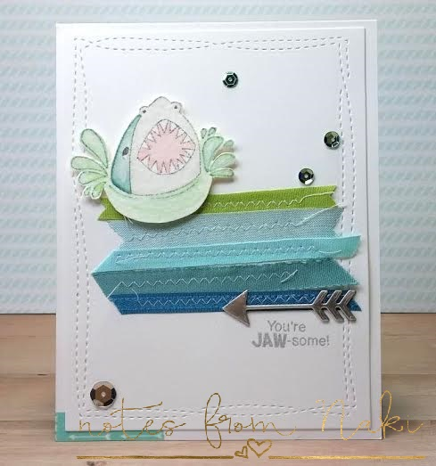 JAW-some card by guest designer Naki Rager | Shark Bites stamp set by Newton's Nook Designs #newtonsnook