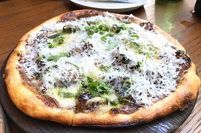 Kensington Street Social: Roast mushroom, taleggio, salmoriglio, marjoram, parmesan sourdough flatbread