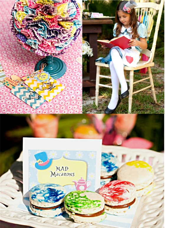 Alice in Wonderland Mad Hatter Tea Party Table Food Table - via BirdsParty.com