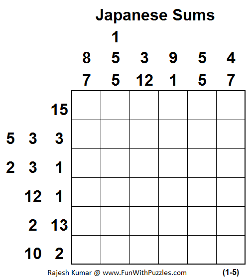 Japanese Sums (Mini Puzzles Series #34)