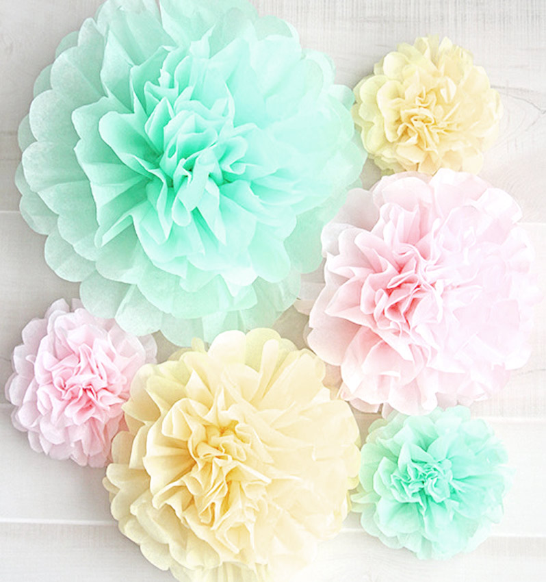 flores o pompones en papel