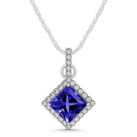 Princess Cut Tanzanite Pendant