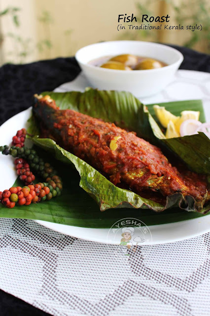 mackerel fish roast in banana wrap fish pollichath fish fry roast green pepper corn fish