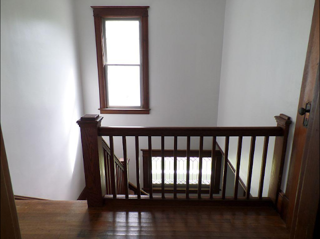 Sears Clyde No. 118 front staircase seen from 2nd floor