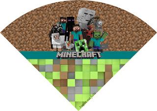 Conos= Cucuruchos para Imprimir Gratis de Fiesta de Minecraft.
