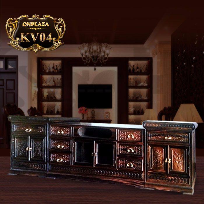 Kệ tivi bằng gỗ Mun phong cách kiểu sập cổ