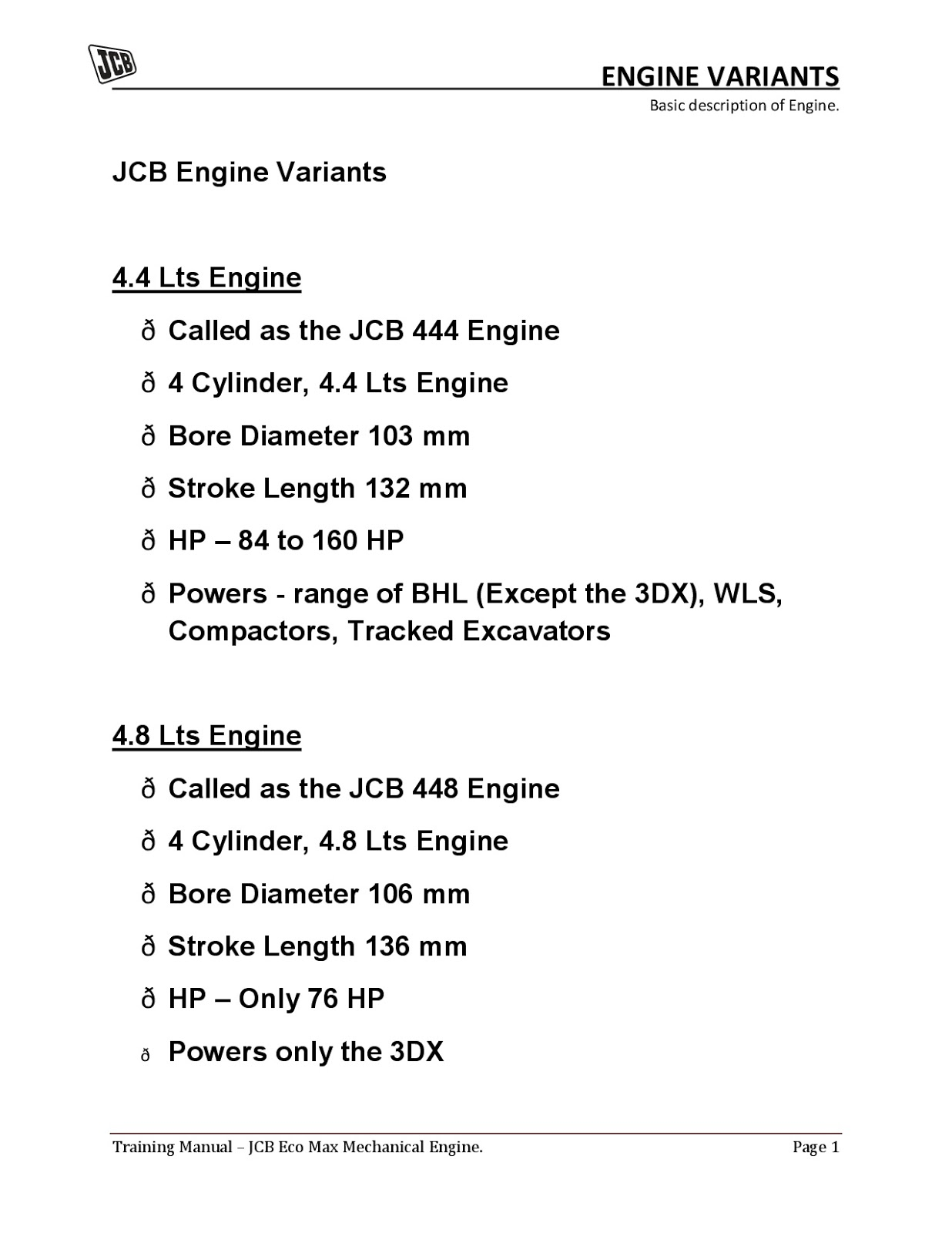 ALLKnowledgeFun: JCB BASIC ENGINE TRAINING MANUAL 1
