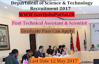 Department of Science & Technology Recruitment 2017–Technical Assistant, Scientist