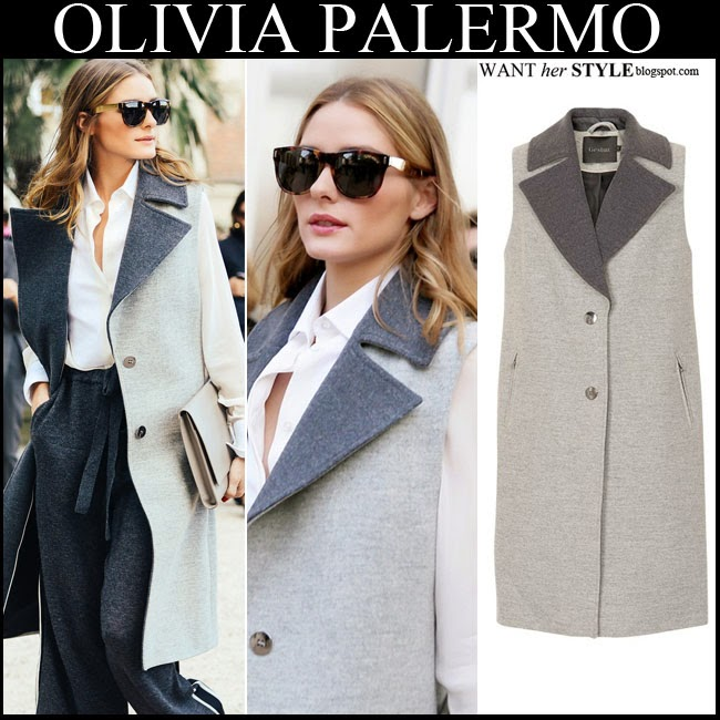 cda80bb3f35 Olivia Palermo in grey sleeveless contrast coat by Gestuz with white blouse  and grey trousers want