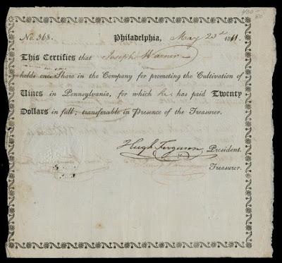 VINE COMPANY OF PENNSYLVANIA share certificate