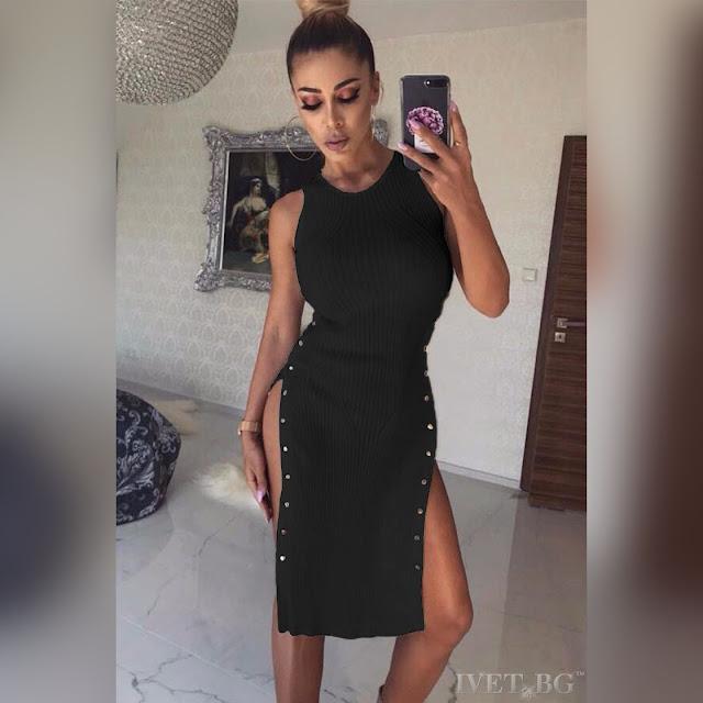 Μεσάτο μαύρο φόρεμα DESITA BLACK