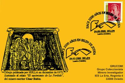 Tarjeta del matasellos de Belén de Valdés en el 2000 aniversario del nacimiento de Jesús en Belén de Judea