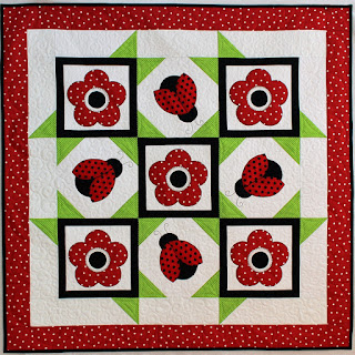LADYBUG QUILT-FLOWER QUILT-WALL HANGING-QUILT PATTERN