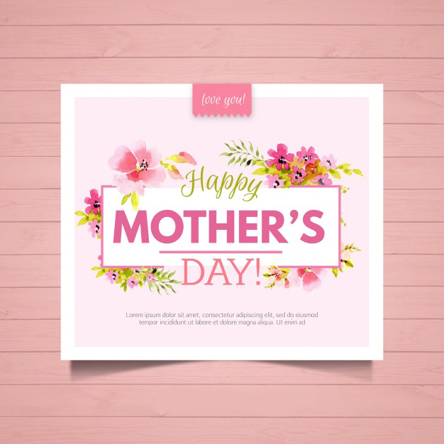 Floral greeting card for mother's day Free Vector