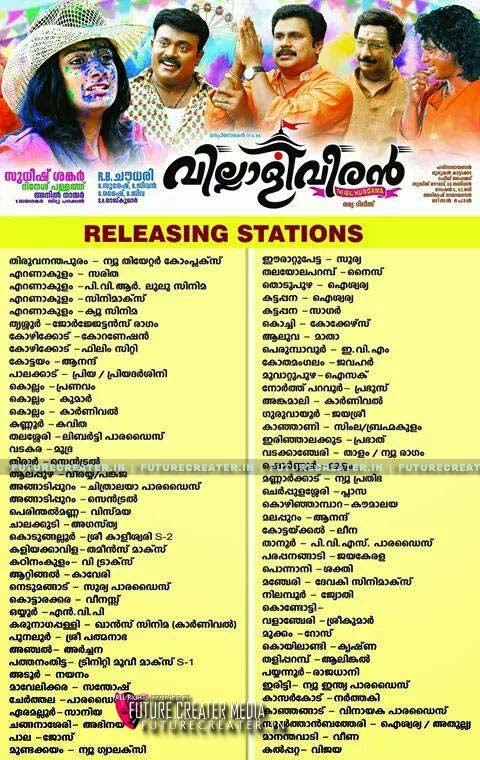 Villali Veeran Theater List, Releasing centers