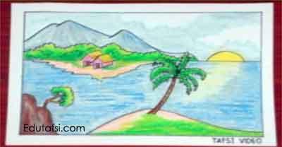 Cara menggambar pemandangan menggunakan oil pastels
