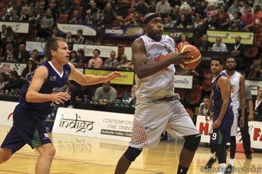 With ball: Kareem Johnson - Indigo Hawks, Bay Hawks vs Super City Rangers, Waitakere Rangers - basketball at Pettigrew.Green Arena, Taradale, Napier. photograph