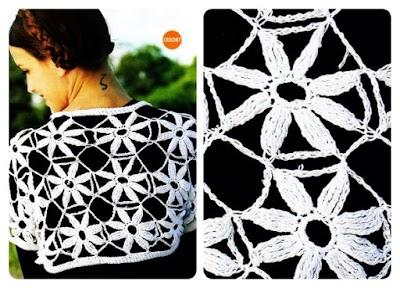 Capa con manga de flores con 8 pétalos a crochet