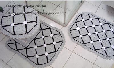 Jogos de Tapetes de Croche Para Decorar Banheiro Com Receitas e Gráficos 3