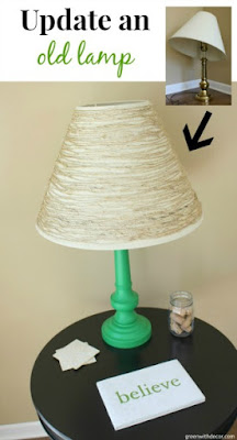 Green With Decor - update an old lamp with paint and twine