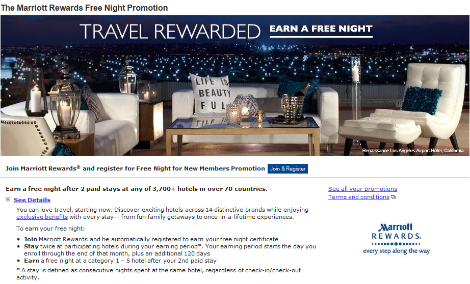 The Marriott Rewards: Free Night for New Members Promotion