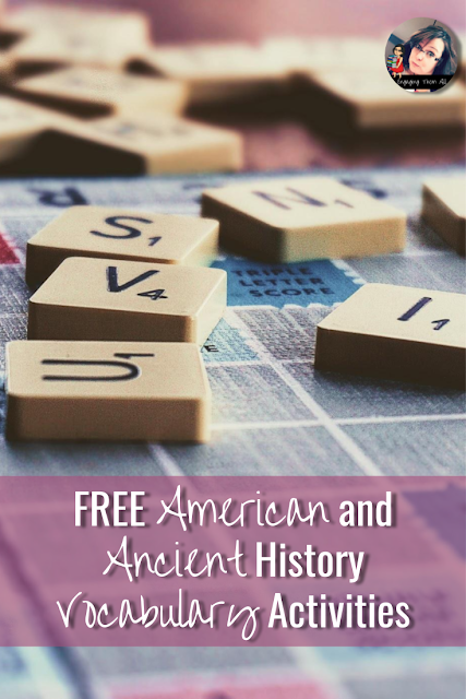 Support all students and scaffold for English Language Learners with this free American History and Ancient History Vocabulary Activities. They are based on the Seven Steps of Vocabulary Acquisition. #ell #vocabulary #americanhistory #ancienthistory #socialstudies #middleschool