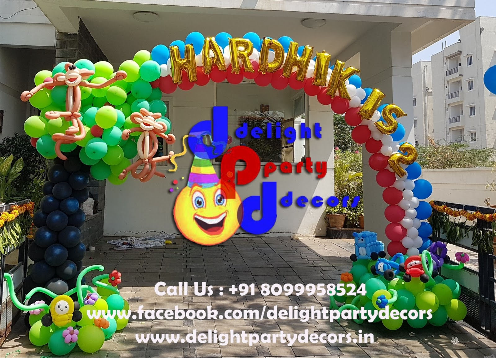 Delight party decors balloon arch decoration in for Balloon decoration in hyderabad