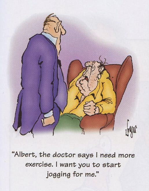 Funny Doctor Exercise Butler Jogging Cartoon - Albert, the doctor says I need more exercise.  I want you to start jogging for me